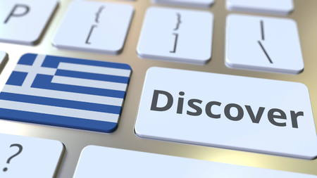 DISCOVER text and flag of Greece on the buttons on the computer keyboard. Conceptual 3D rendering