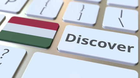DISCOVER text and flag of Hungary on the buttons on the computer keyboard. Conceptual 3D rendering Stock fotó