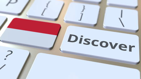 DISCOVER text and flag of Indonesia on the buttons on the computer keyboard. Conceptual 3D rendering
