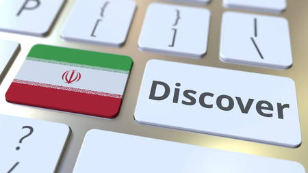 DISCOVER text and flag of Iran on the buttons on the computer keyboard. Conceptual 3D rendering
