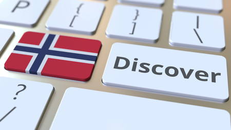 DISCOVER text and flag of Norway on the buttons on the computer keyboard. Conceptual 3D rendering