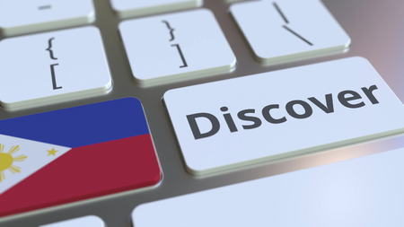 DISCOVER text and flag of Philippines on the buttons on the computer keyboard. Conceptual 3D rendering