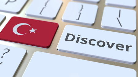 DISCOVER text and flag of Turkey on the buttons on the computer keyboard. Conceptual 3D rendering