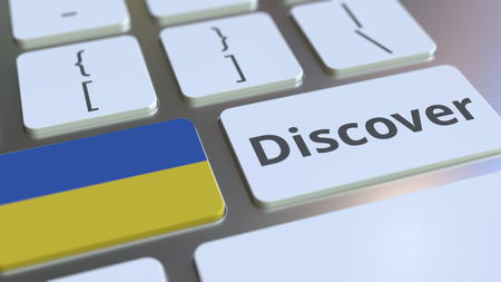 DISCOVER text and flag of Ukraine on the buttons on the computer keyboard. Conceptual 3D rendering
