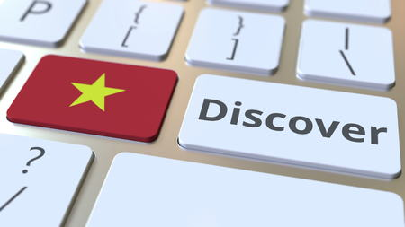 DISCOVER text and flag of Vietnam on the buttons on the computer keyboard. Conceptual 3D rendering