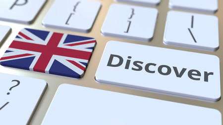 DISCOVER text and flag of Great Britain on the buttons on the computer keyboard. Conceptual 3D rendering