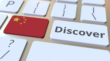 DISCOVER text and flag of China on the buttons on the computer keyboard. Conceptual 3D rendering Stock fotó