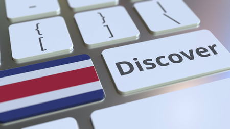 DISCOVER text and flag of Costa Rica on the buttons on the computer keyboard. Conceptual 3D rendering