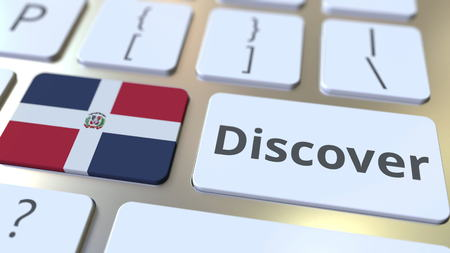 DISCOVER text and flag of the Dominican Republic on the buttons on the computer keyboard. Conceptual 3D rendering Stock fotó