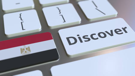 DISCOVER text and flag of Egypt on the buttons on the computer keyboard. Conceptual 3D rendering