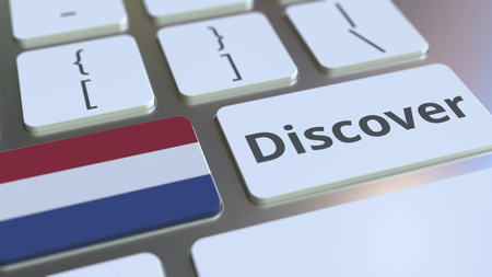 DISCOVER text and flag of the Netherlands on the buttons on the computer keyboard. Conceptual 3D rendering Stock fotó