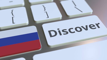 DISCOVER text and flag of Russia on the buttons on the computer keyboard. Conceptual 3D rendering