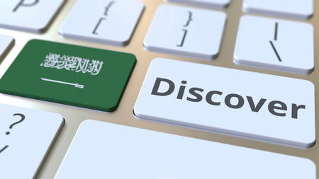 DISCOVER text and flag of Saudi Arabia on the buttons on the computer keyboard. Conceptual 3D rendering