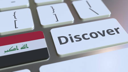 DISCOVER text and flag of Iraq on the buttons on the computer keyboard. Conceptual 3D rendering
