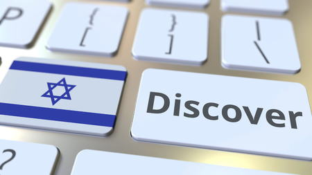 DISCOVER text and flag of Israel on the buttons on the computer keyboard. Conceptual 3D rendering