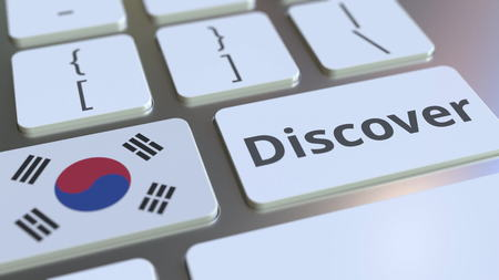 DISCOVER text and flag of South Korea on the buttons on the computer keyboard. Conceptual 3D rendering
