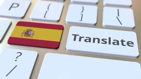 TRANSLATE text and flag of Spain on the buttons on the computer keyboard. Conceptual 3D rendering