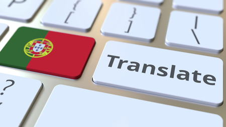 TRANSLATE text and flag of Portugal on the buttons on the computer keyboard. Conceptual 3D rendering Standard-Bild
