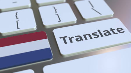 TRANSLATE text and flag of the Netherlands on the buttons on the computer keyboard. Conceptual 3D rendering Banco de Imagens