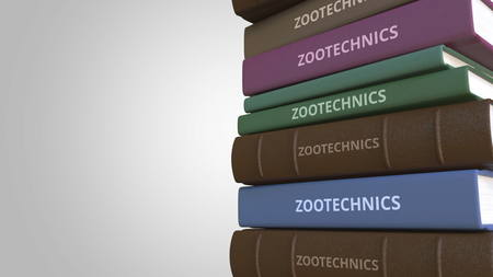 Book with ZOOTECHNICS title, 3D rendering