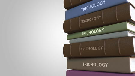 TRICHOLOGY title on the stack of books, conceptual 3D rendering