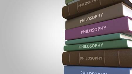 Pile de livres sur la philosophie, rendu 3D Banque d'images