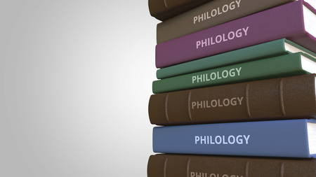Book cover with PHILOLOGY title, 3D rendering