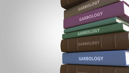 Stack of books on GARBOLOGY, 3D rendering Stockfoto