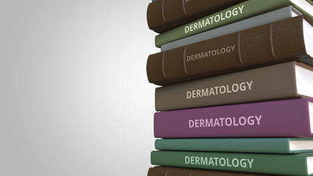 Book with DERMATOLOGY title, 3D rendering