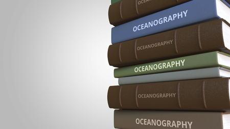 Stack of books on OCEANOGRAPHY, 3D rendering Reklamní fotografie