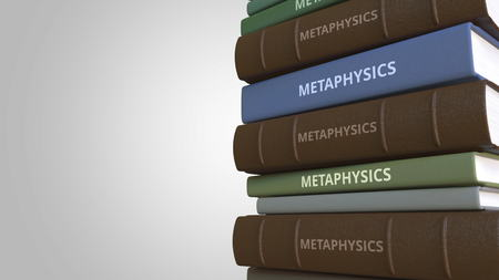 METAPHYSICS title on the stack of books, conceptual 3D rendering