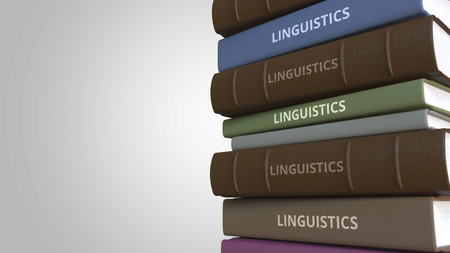 Book cover with LINGUISTICS title, 3D rendering Stock Photo