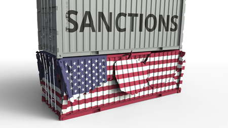 Container with SANCTIONS text breaks cargo container with flag of the United States. Embargo or political export or import ban related conceptual 3D rendering