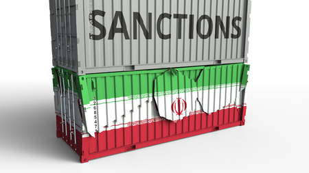 Container with SANCTIONS text breaks cargo container with flag of Iran. Embargo or political export or import ban related conceptual 3D rendering 版權商用圖片