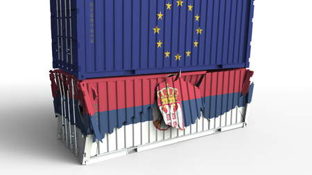Container with flag of the European Union EU breaks cargo container with flag of Serbia. Trade war or economic conflict related conceptual 3D rendering