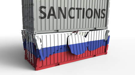 Container with SANCTIONS text breaks cargo container with flag of Russia. Embargo or political export or import ban related conceptual 3D rendering