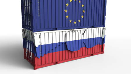 Container with flag of the European Union EU breaks cargo container with flag of Russia. Trade war or economic conflict related conceptual 3D rendering