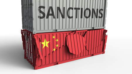 Container with SANCTIONS text breaks cargo container with flag of China. Embargo or political export or import ban related conceptual 3D rendering
