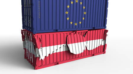 Container with flag of the European Union breaks cargo container with flag of Austria. Trade war or economic conflict related conceptual 3D rendering