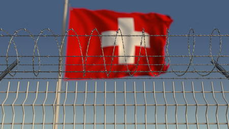 Barbed wire against waving flag of Switzerland. 3D rendering