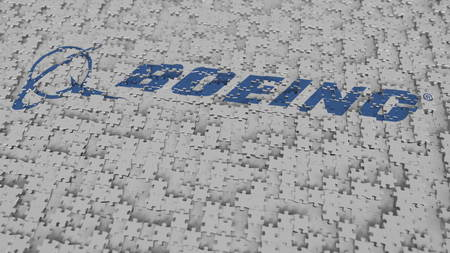 BOEING logo being composed with puzzle pieces, editorial 3D rendering