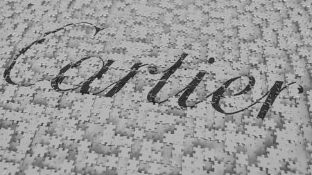CARTIER logo being composed with puzzle pieces, editorial 3D rendering