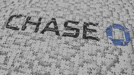 CHASE logo composing with puzzle pieces, editorial 3D rendering