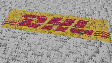 Logo of DHL being made with puzzle pieces, editorial 3D rendering