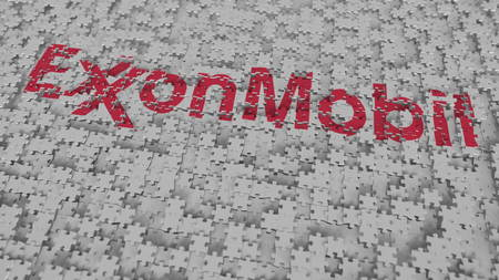 Logo of EXXON MOBIL being made with puzzle pieces, editorial 3D rendering Editorial