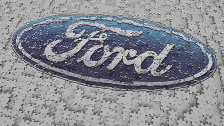 FORD logo being composed with puzzle pieces, editorial 3D rendering