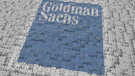 Logo of GOLDMAN SACHS being made with puzzle pieces, editorial 3D rendering