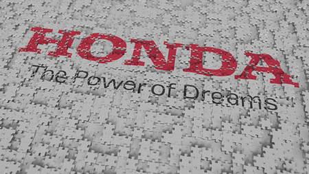 HONDA logo composing with puzzle pieces, editorial 3D rendering