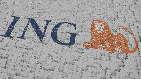 Logo of ING being made with puzzle pieces, editorial 3D rendering Banco de Imagens - 120110174