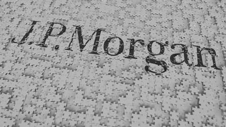 Logo of JPMORGAN being made with puzzle pieces, editorial 3D rendering